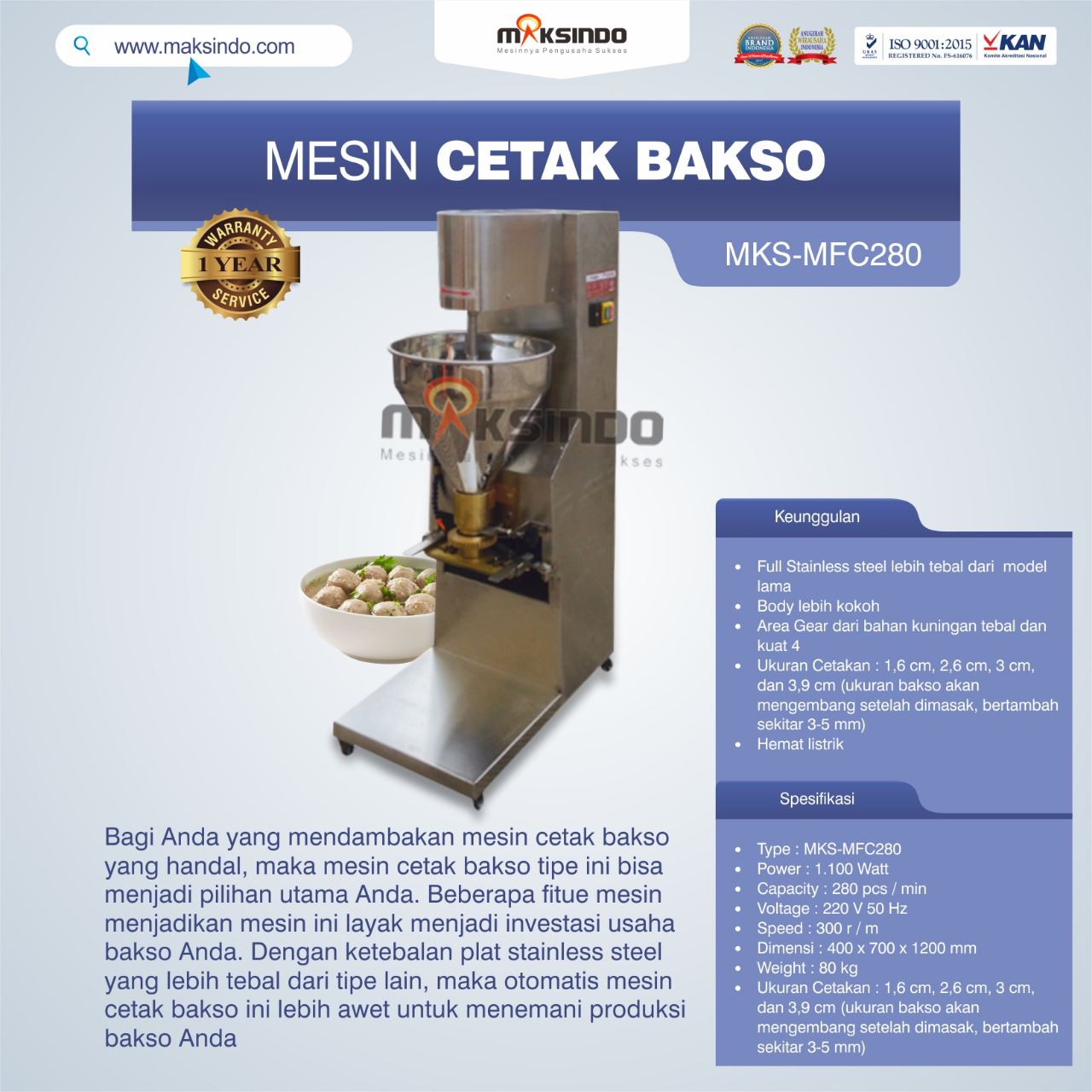 Jual Mesin Cetak Bakso MKS-MFC280 di Tangerang