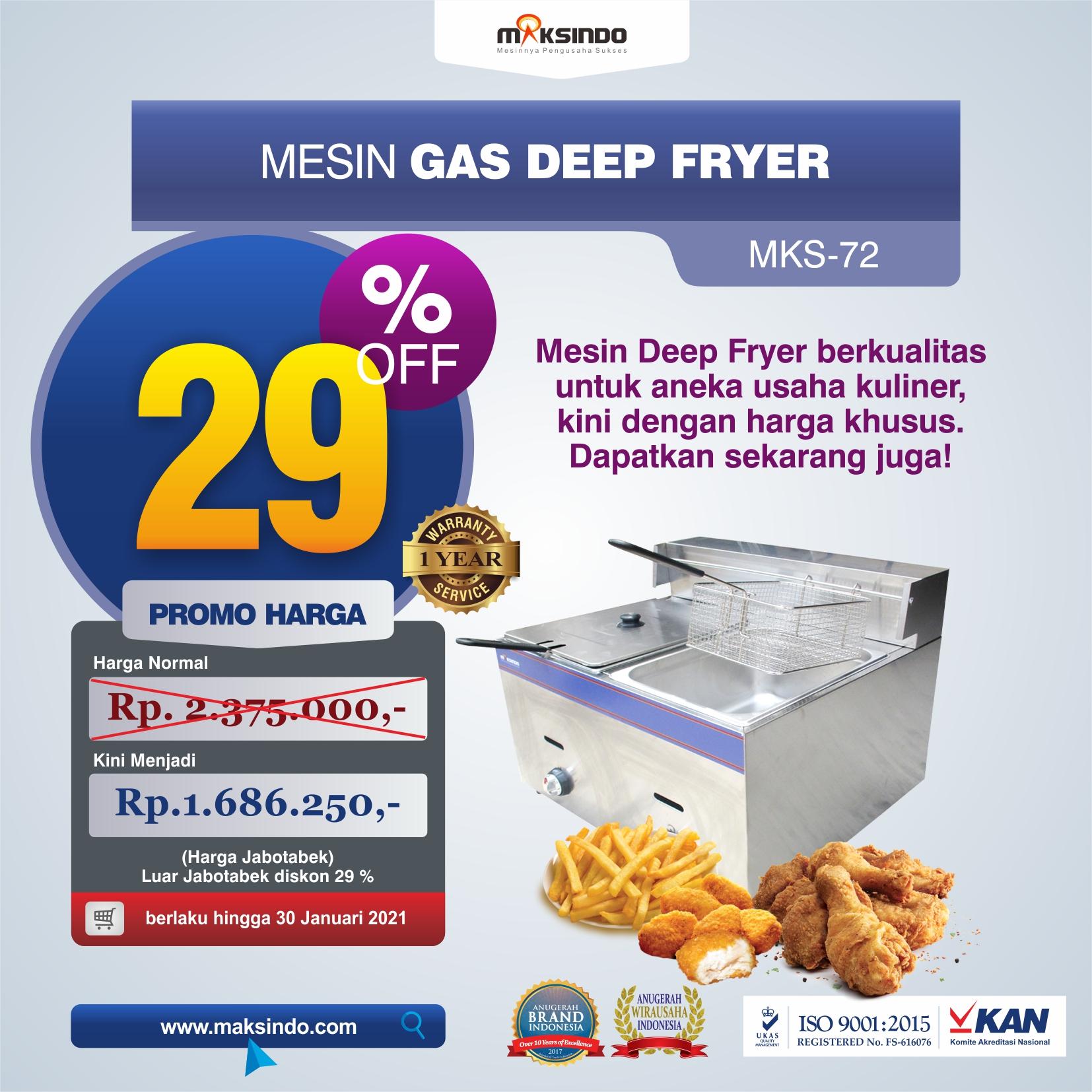 Jual Mesin Gas Deep Fryer MKS-72 di Tangerang