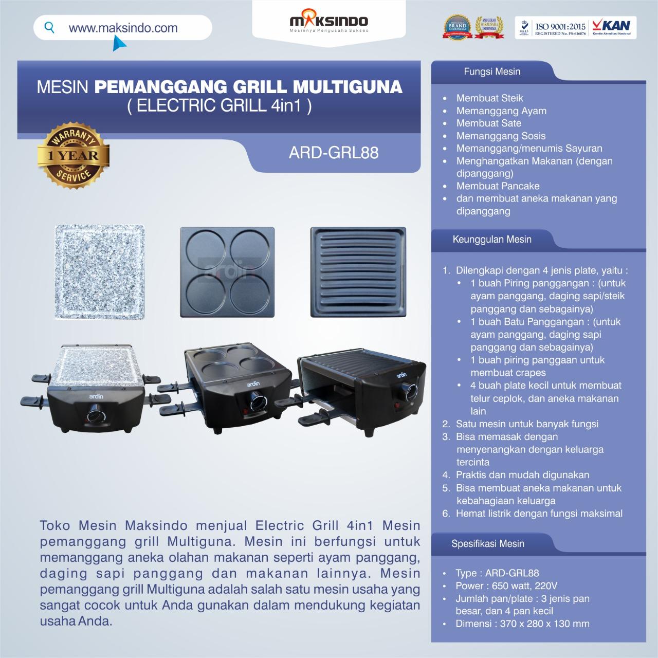 Jual Mesin Pemanggang Grill Multiguna (Electric Grill 4in1) ARD-GRL88 di Tangerang