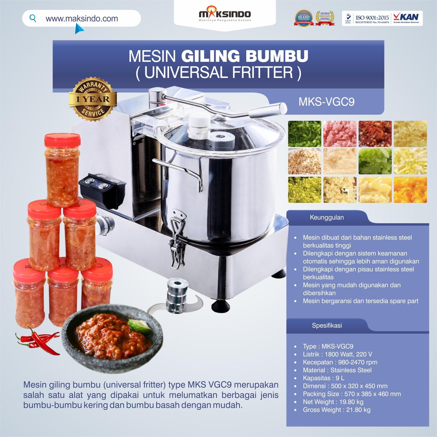 Jual Mesin Giling Bumbu (Universal Fritter) MKS VGC9 di Tangerang