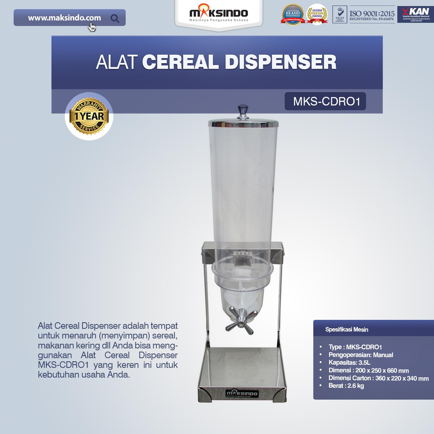 Jual Alat Cereal Dispenser MKS-CDR01 di Tangerang
