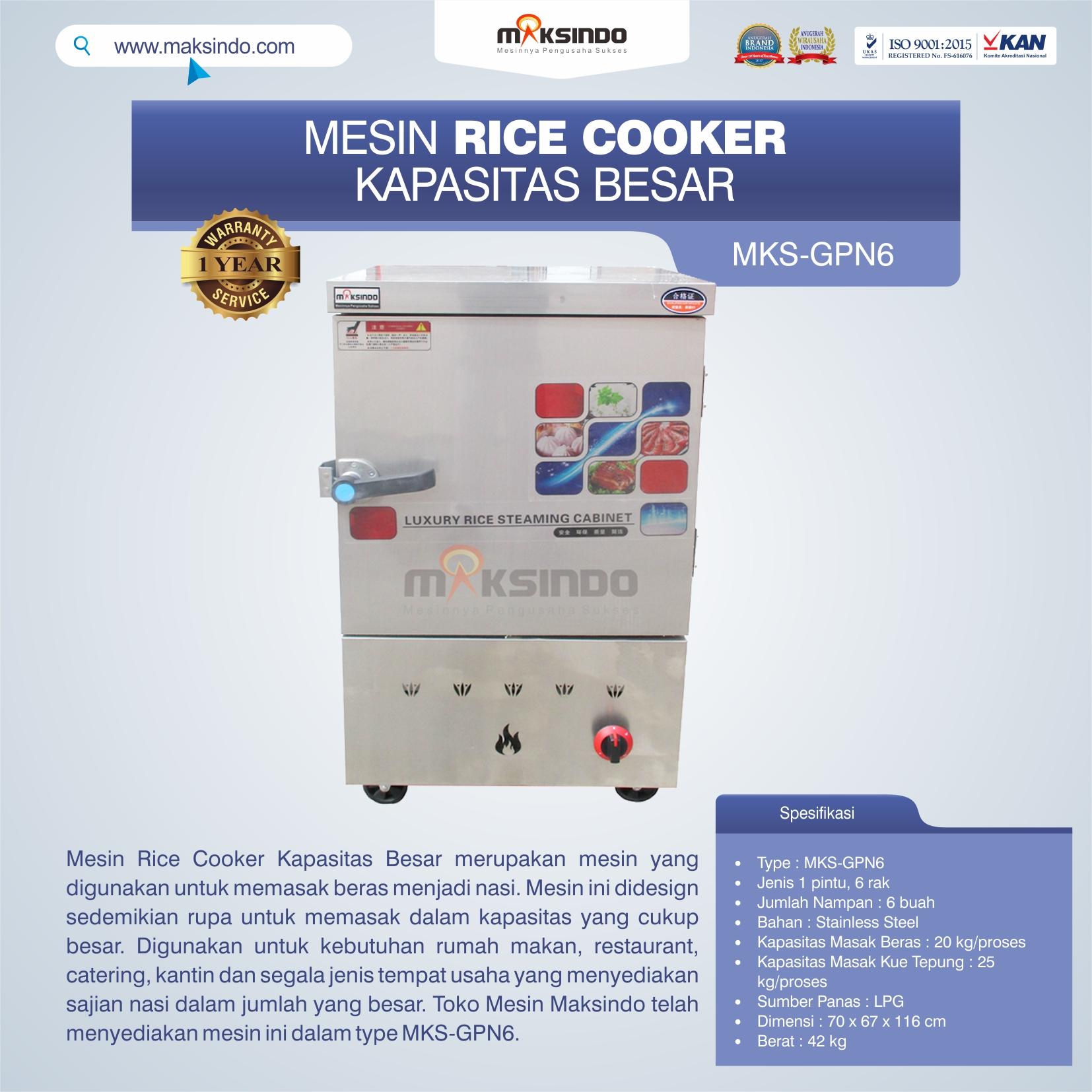 Jual Mesin Rice Cooker Kapasitas Besar MKS-GPN6 di Tangerang