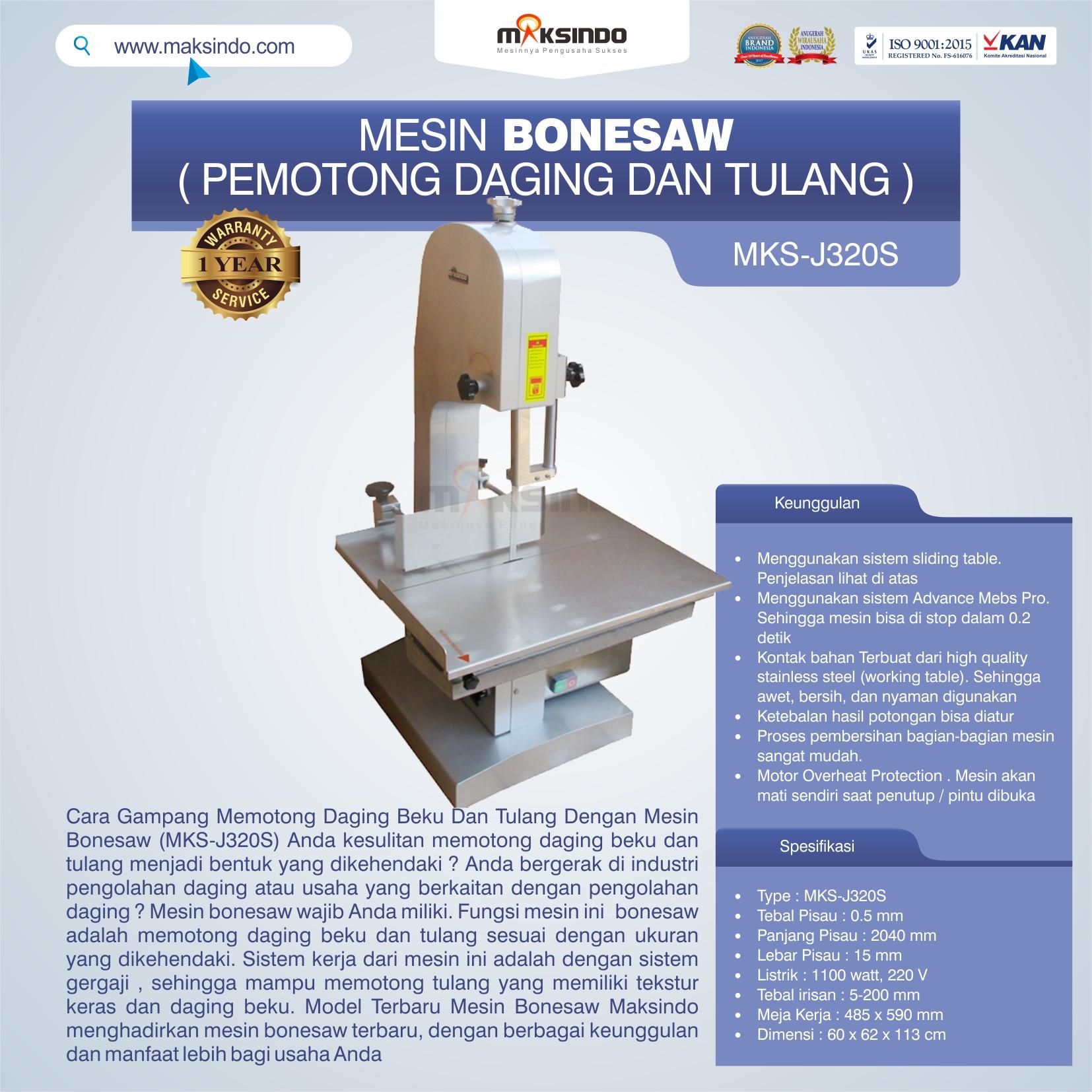 Jual Mesin Bonesaw MKS-J320S (pemotong daging dan tulang) di Tangerang