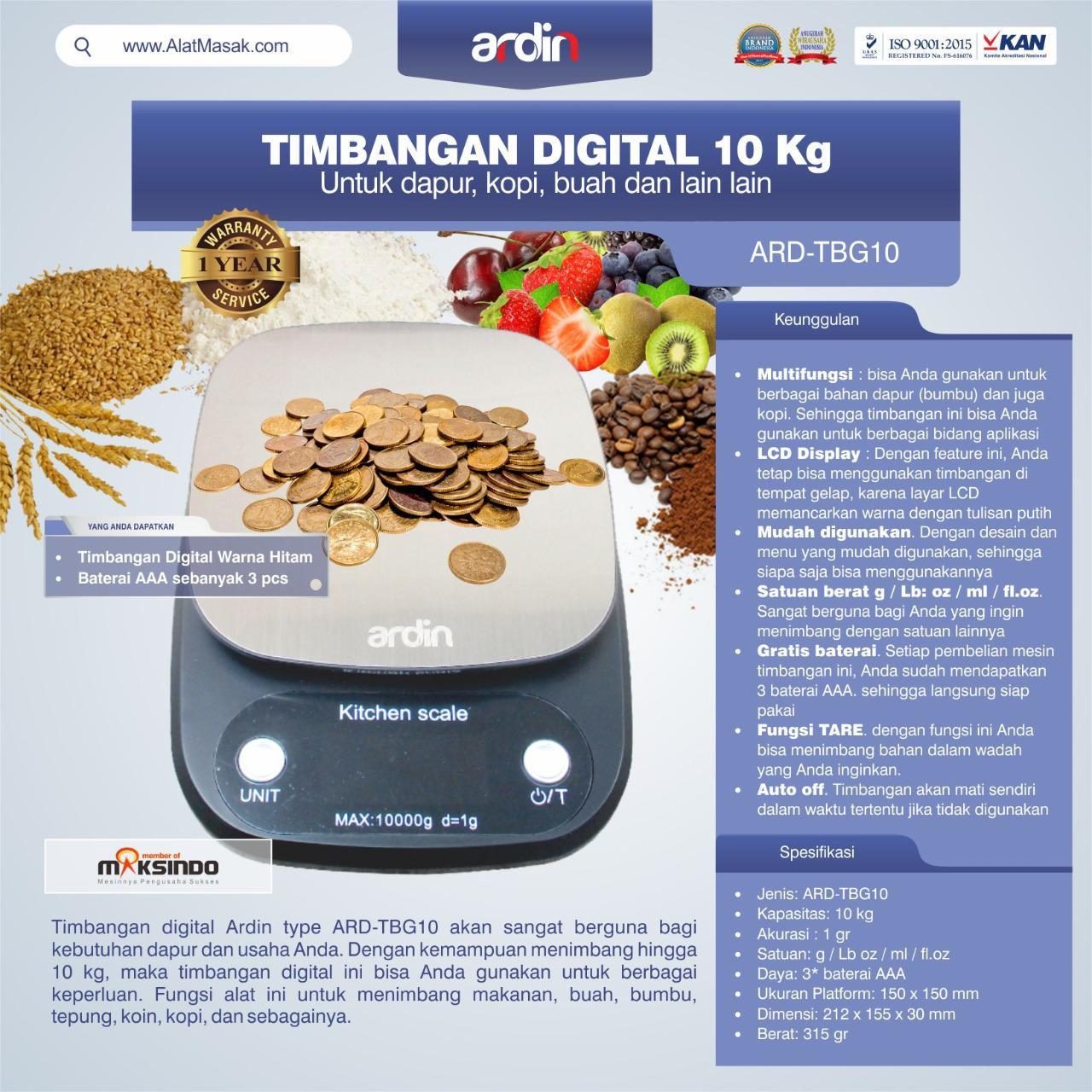 Jual Timbangan Digital 10 kg / Timbangan Kopi ARD-TBG10 di Tangerang