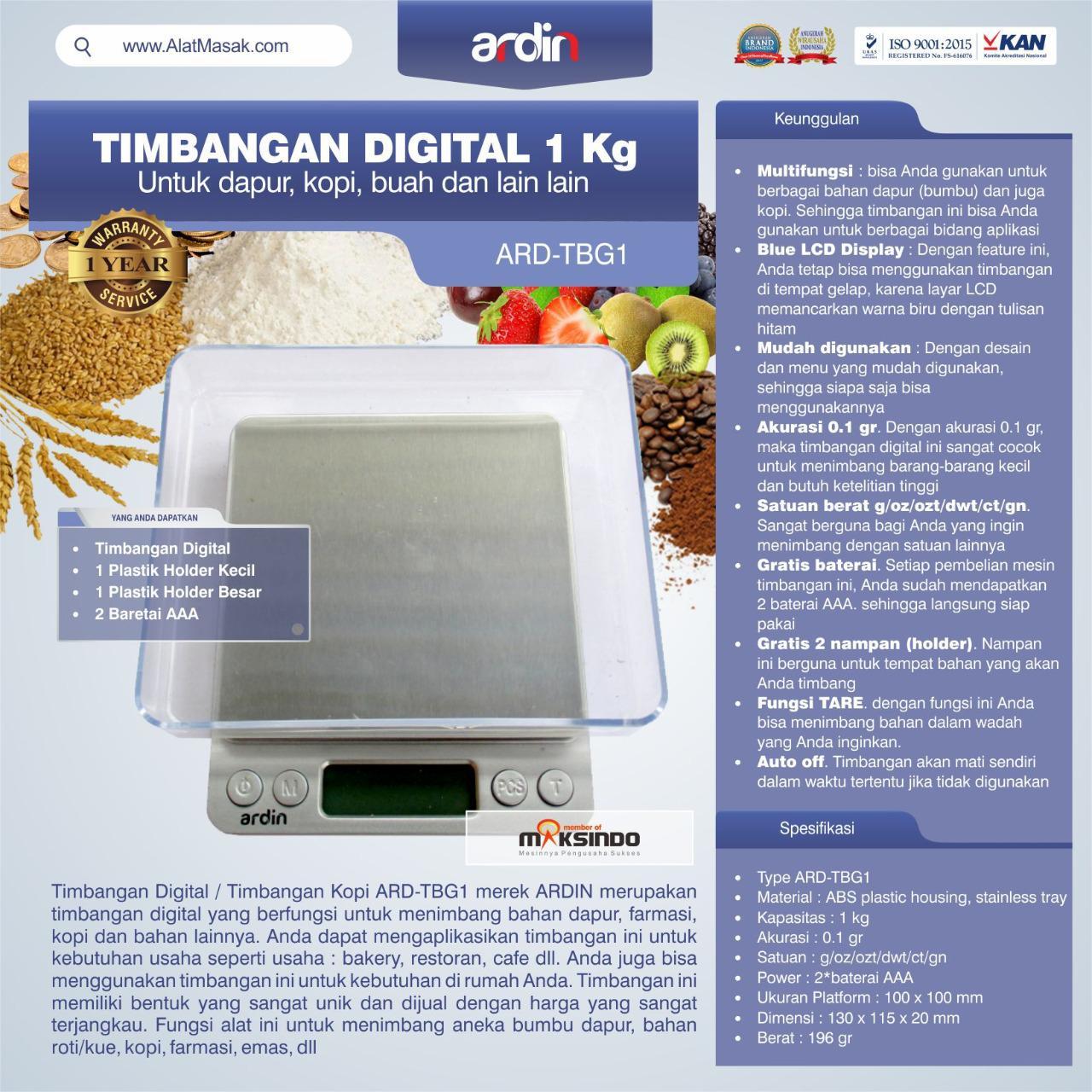 Jual Timbangan Digital Dapur 1 kg / Timbangan Kopi ARD-TBG1 di Tangerang