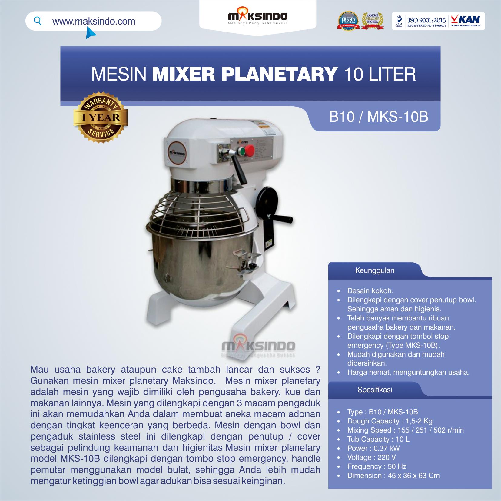 Jual Mesin Mixer Planetary 10 Liter (MKS-10B) di Tangerang