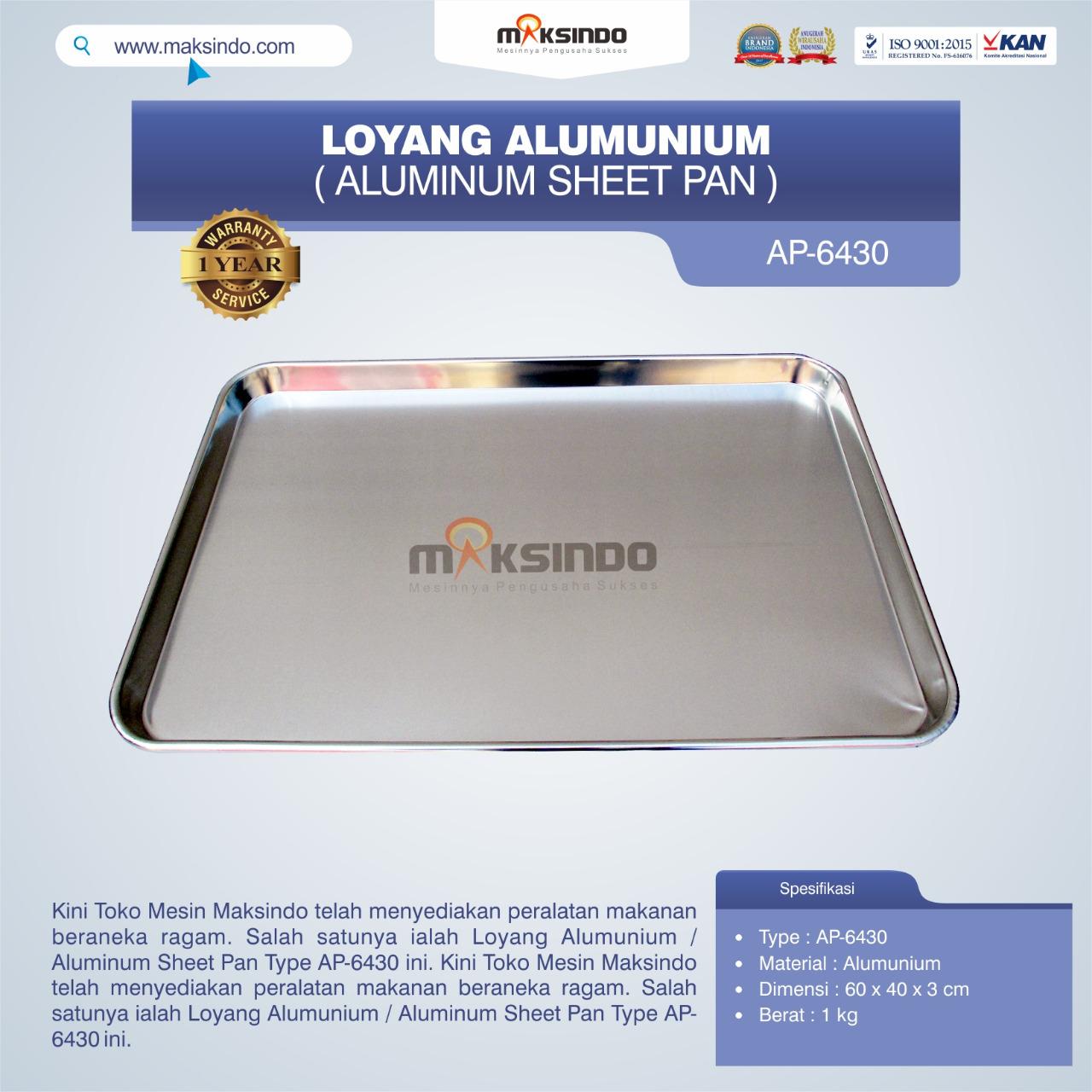 Jual Loyang Alumunium / Aluminum Sheet Pan Type AP-6430 di Tangerang