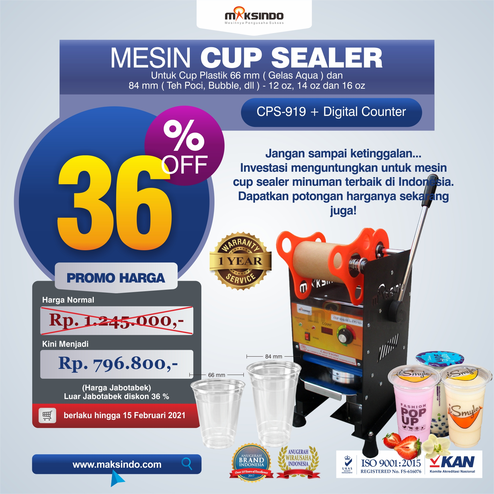 Jual Cup Sealer Manual Plus Counter (CPS-919) di Tangerang