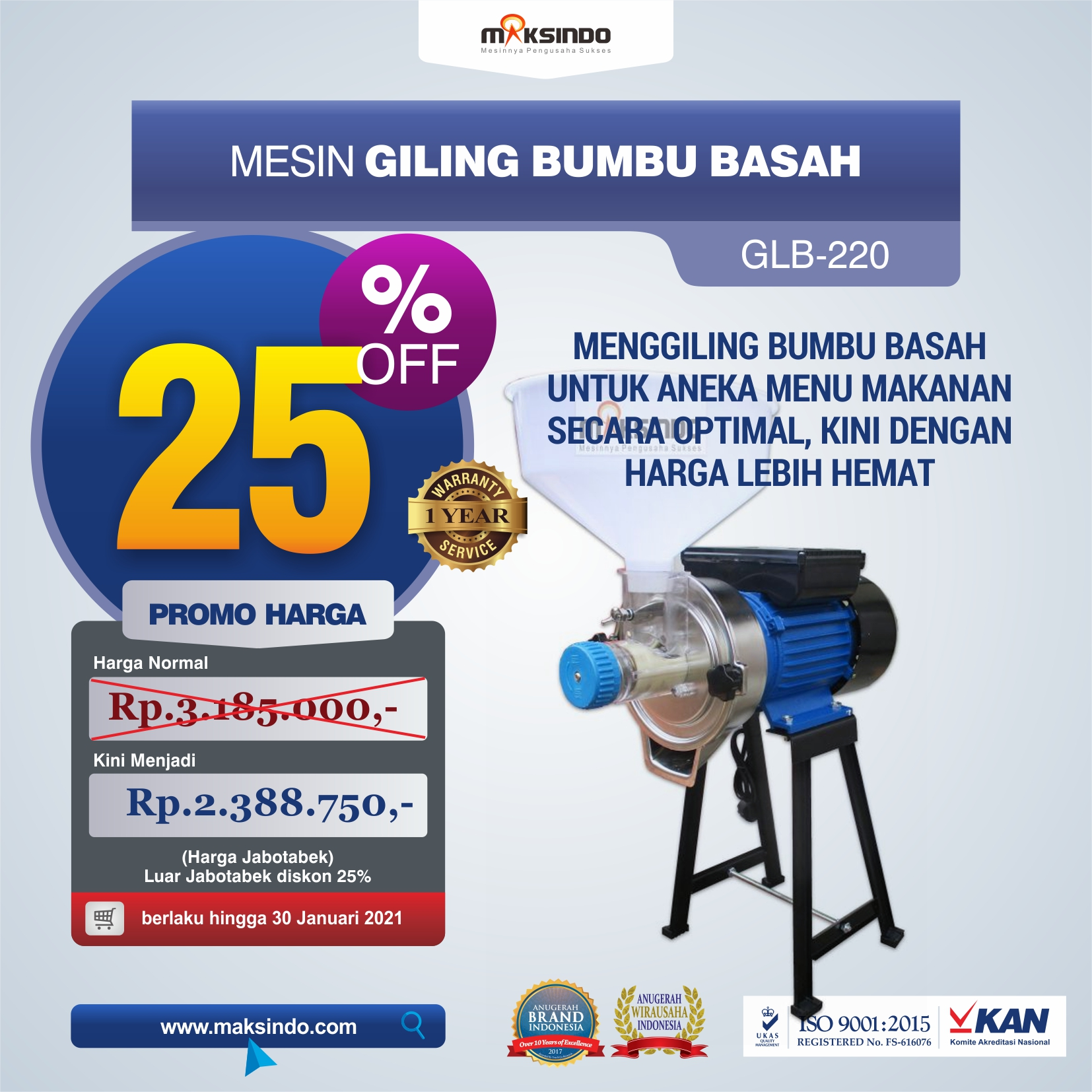 Jual Mesin Giling Bumbu Basah GLB220 di Tangerang