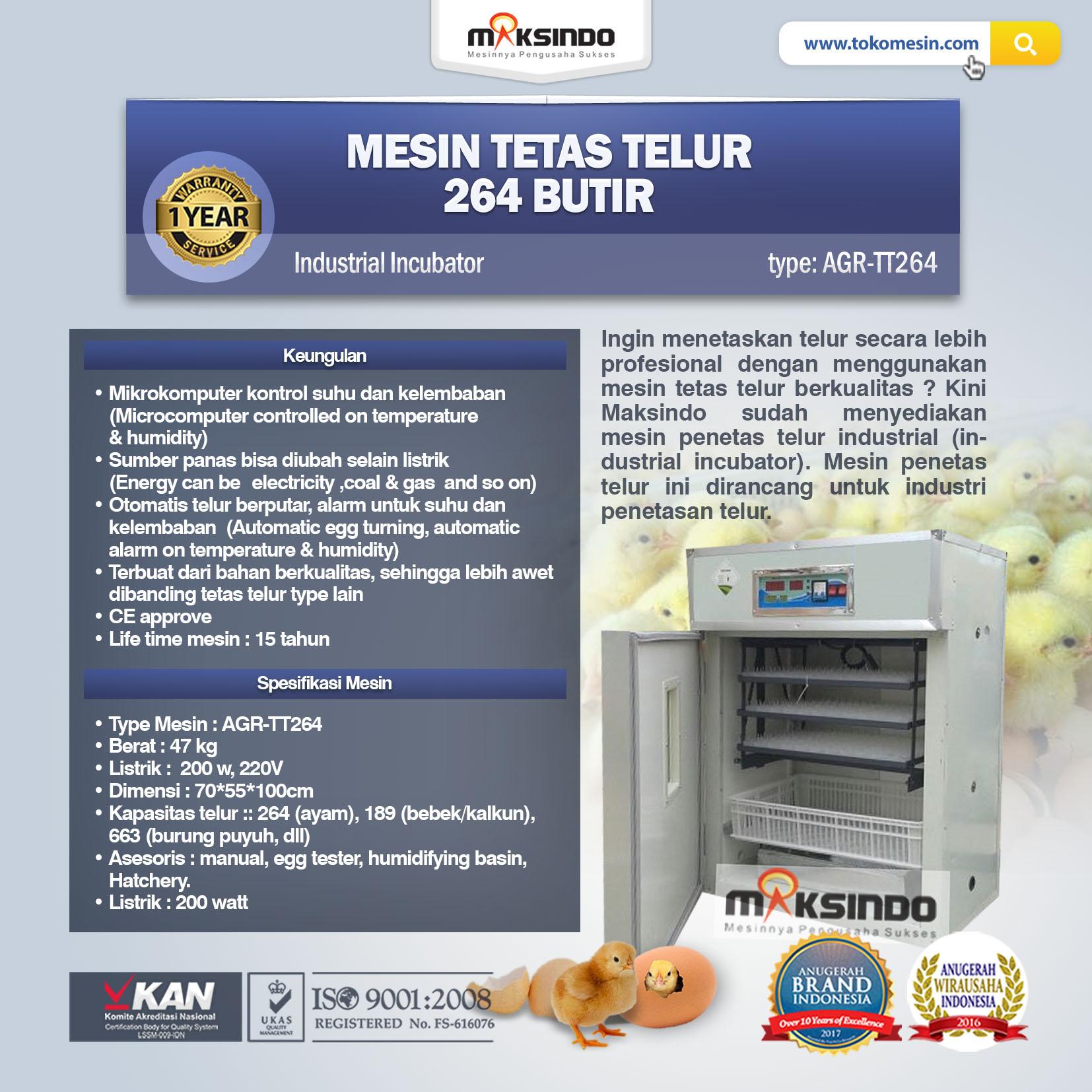 Jual Mesin Tetas Telur Industri 264 Butir (Industrial Incubator) di Tangerang