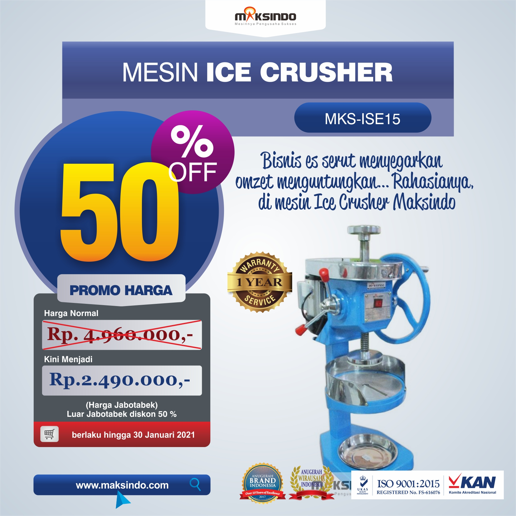 Jual Mesin Ice Crusher MKS-ISE15 di Tangerang