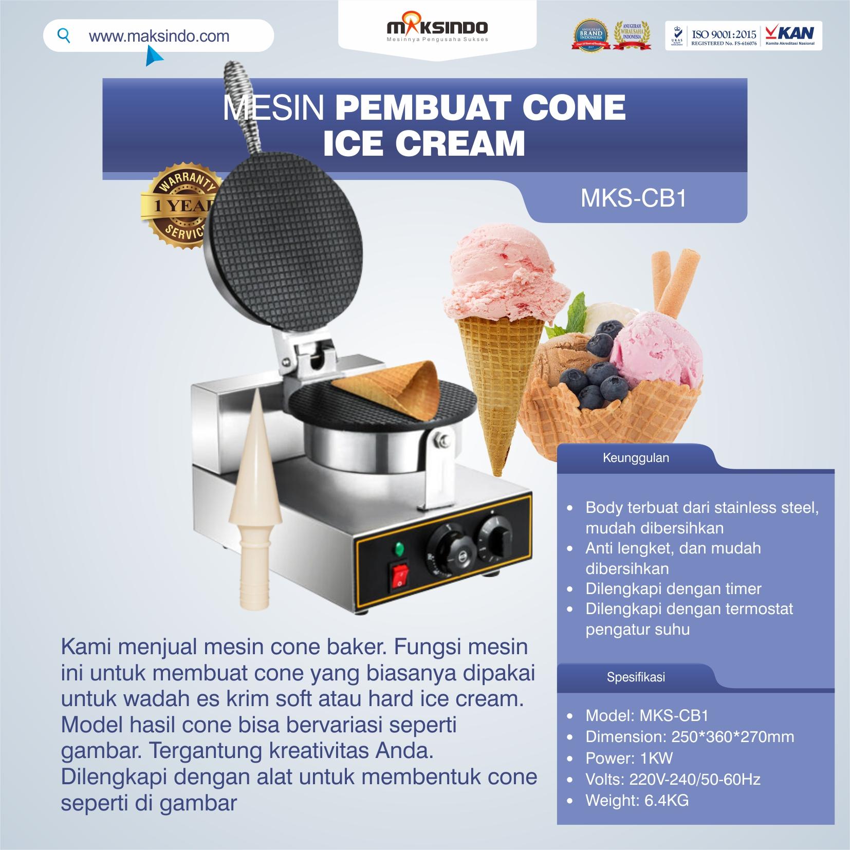 Jual Mesin Pembuat Cone (Cone Baker) Untuk Es Krim MKS-CB1 di Tangerang
