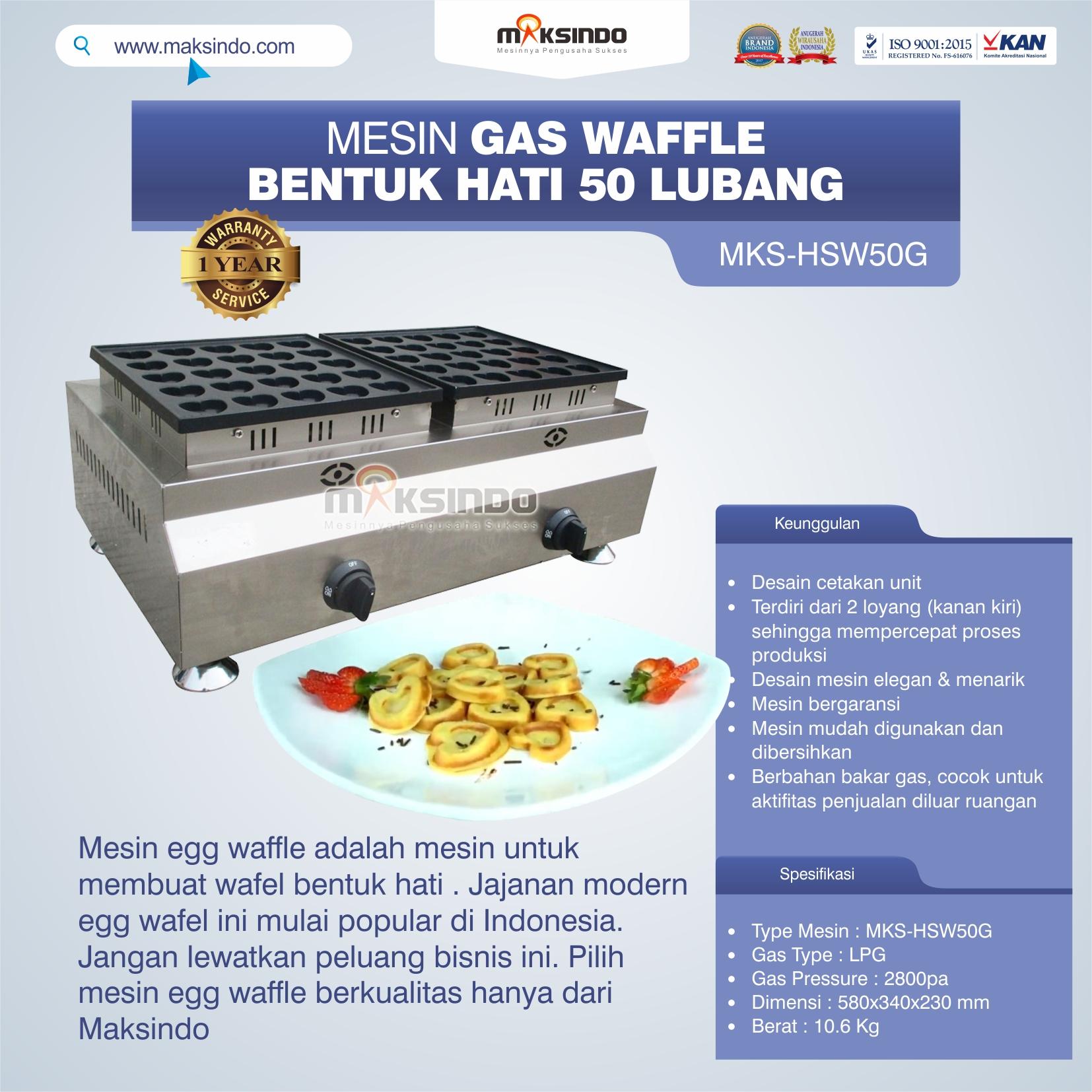 Jual Mesin Waffle Gas Bentuk Hati 50 Lubang MKS-HSW50G di Tangerang