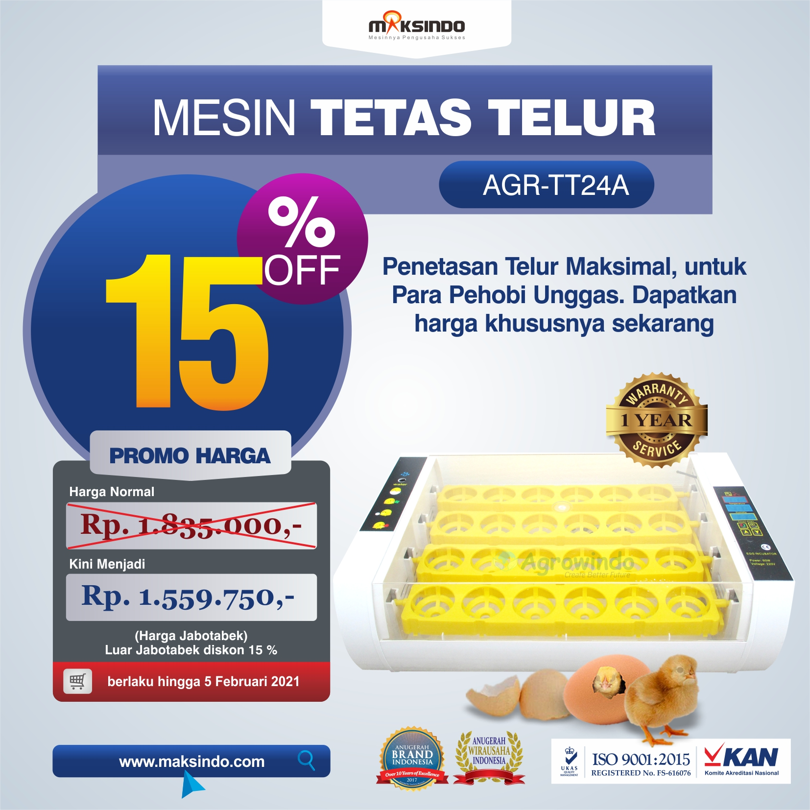 Jual Mesin Penetas Telur AGR-TT24A di Tangerang