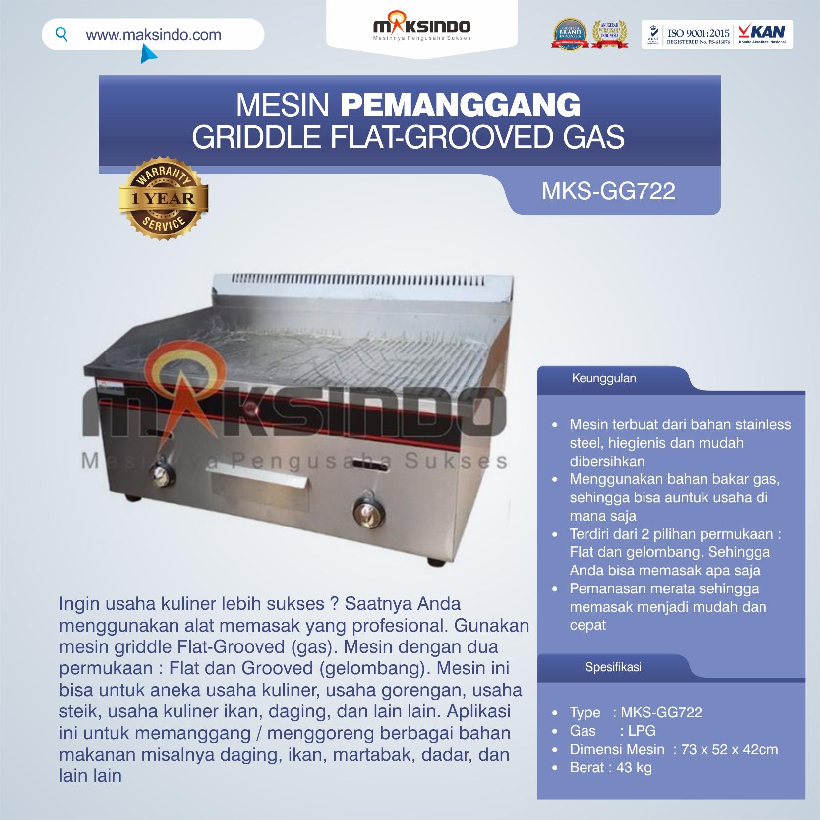 Jual Pemanggang Griddle Flat-Grooved Gas (GG722) di Tangerang