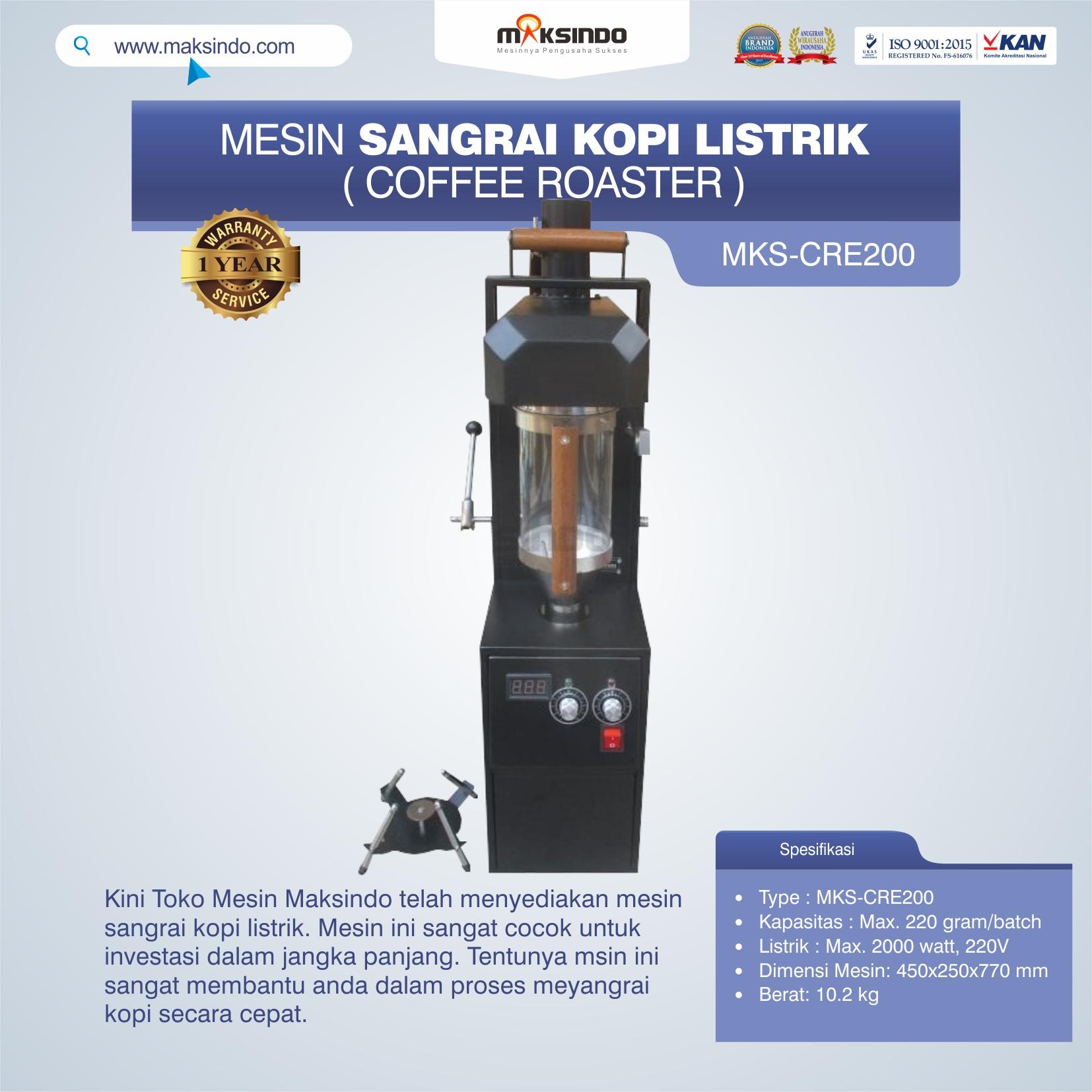 Jual Mesin Sangrai Kopi Listrik (Coffee Roaster) MKS-CRE200 di Tangerang