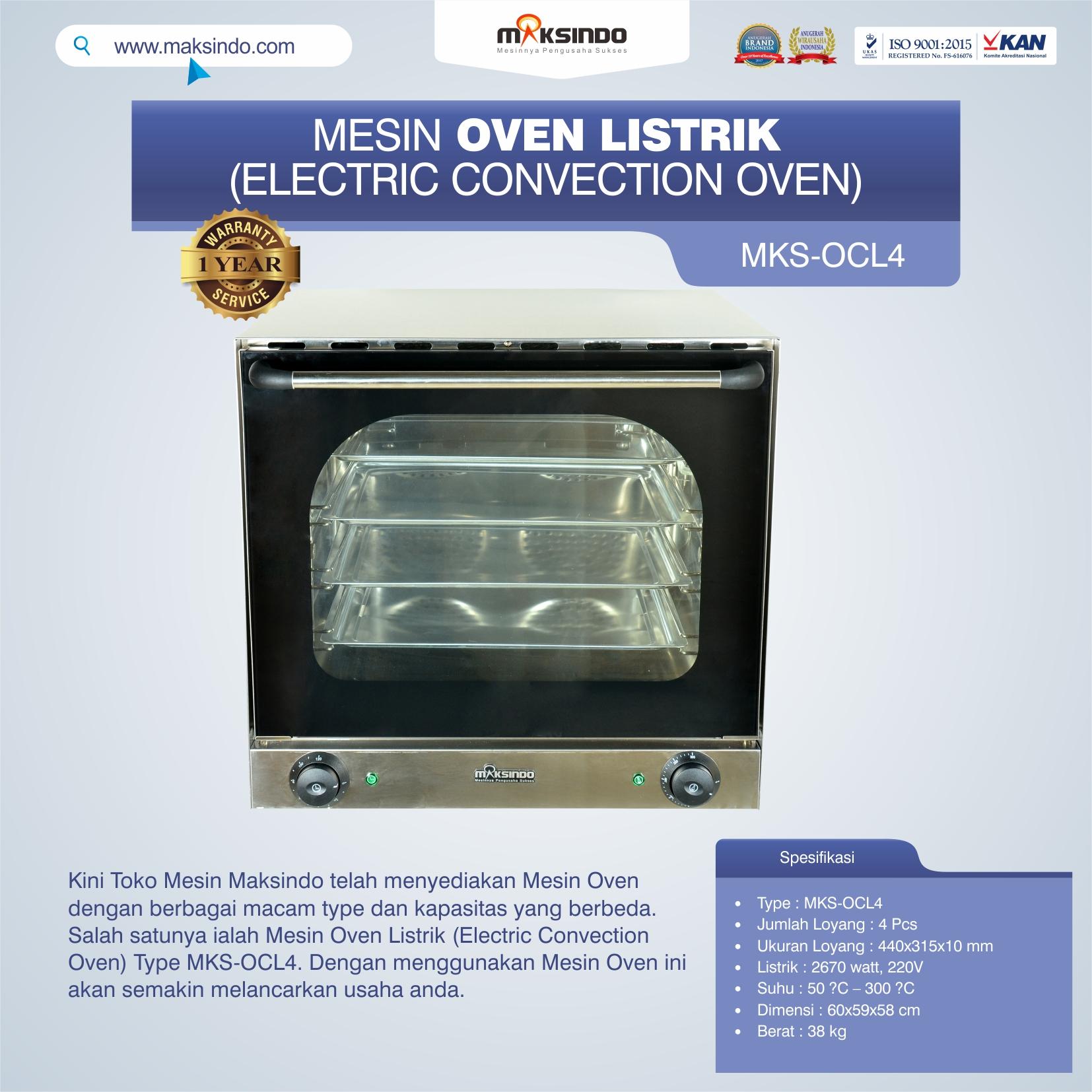 Jual Mesin Oven Listrik (Electric Convection Oven) MKS-OCL4 di Tangerang